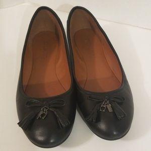 Coach Black Leather Flats